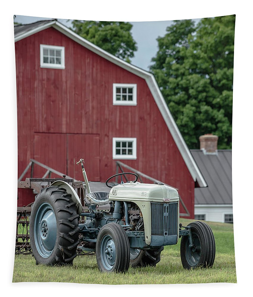 Etna Tapestry featuring the photograph Vintage Ford Farm Tractor With Red Barn by Edward Fielding