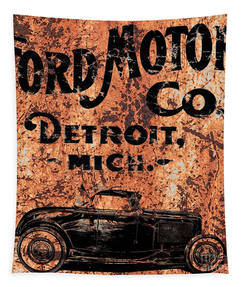 Ford Tapestry featuring the digital art Vintage Ford Motor Company by Edward Fielding