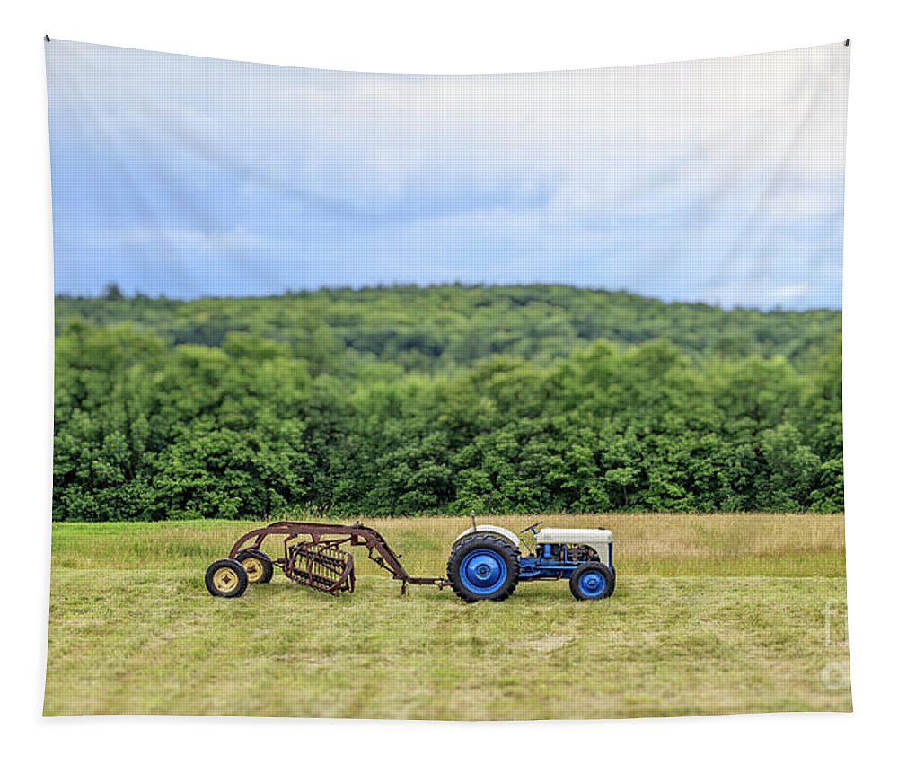 Tractor Tapestry featuring the photograph Vintage Ford Tractor Tilt Shift by Edward Fielding