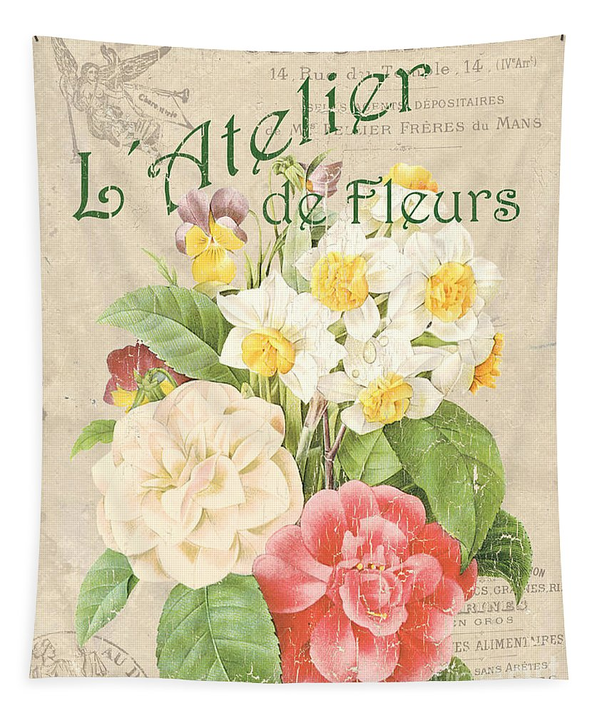 Floral Tapestry featuring the painting Vintage French Flower Shop 1 by Debbie DeWitt