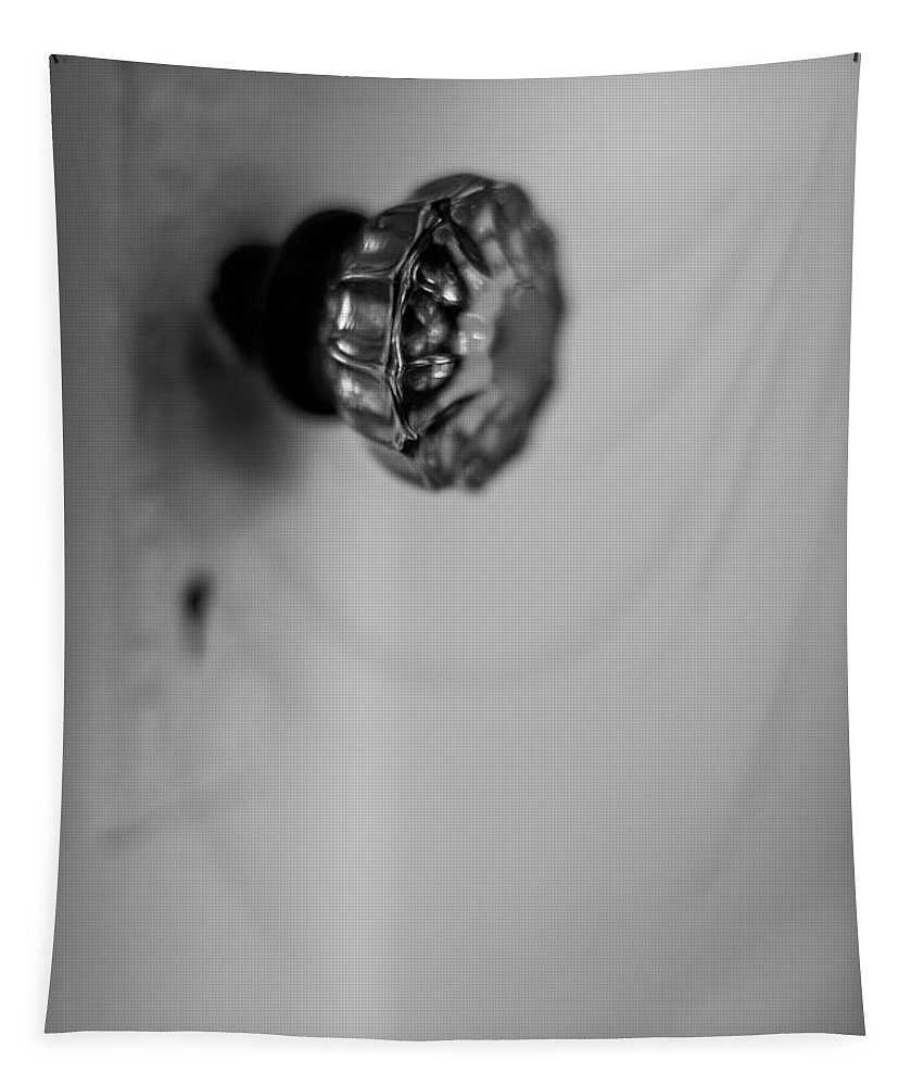 Terry D Photography Tapestry featuring the photograph Vintage Glass Door Knob Black And White by Terry DeLuco