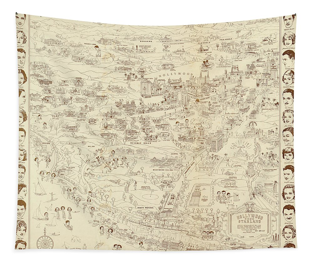 Map Tapestry featuring the mixed media Vintage Hollywood Starland by Mountain Dreams