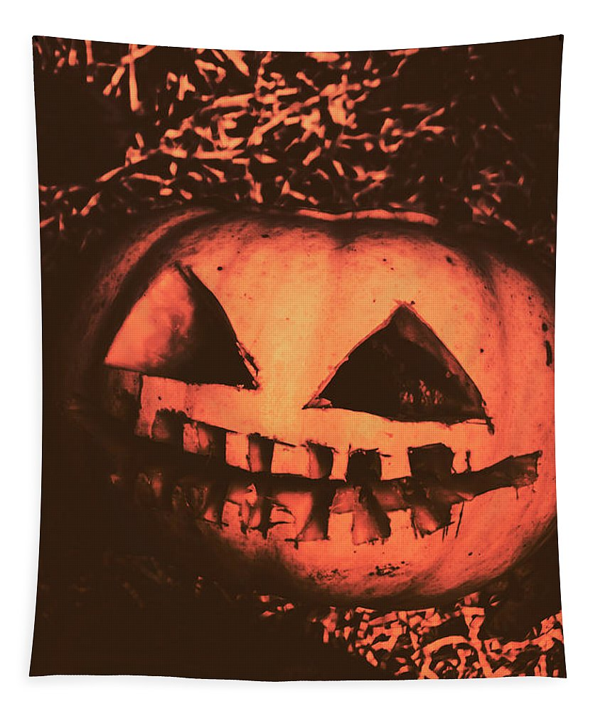 Vintage Tapestry featuring the photograph Vintage Horror Pumpkin Head by Jorgo Photography - Wall Art Gallery