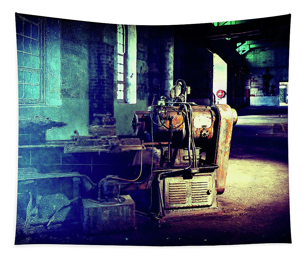 Tapestry featuring the photograph Vintage Industrial Blueprint by Phil Perkins