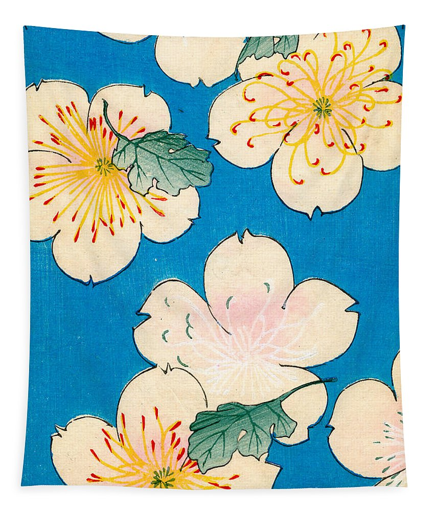 Flower Tapestry featuring the painting Vintage Japanese illustration of dogwood blossoms by Japanese School