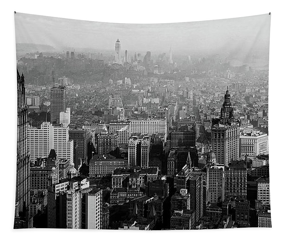 1930s Tapestry featuring the photograph Vintage New York City Panorama 1930 by Mountain Dreams