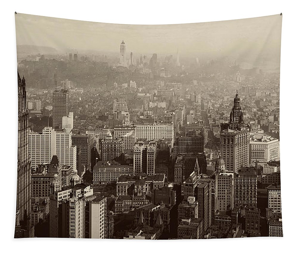 1930s Tapestry featuring the photograph Vintage New York City Panorama by Mountain Dreams