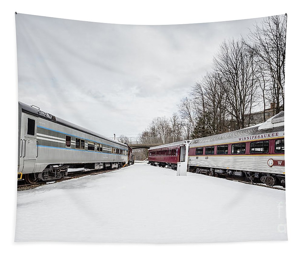 Passenger Tapestry featuring the photograph Vintage Passenger Train Cars In Winter by Edward Fielding