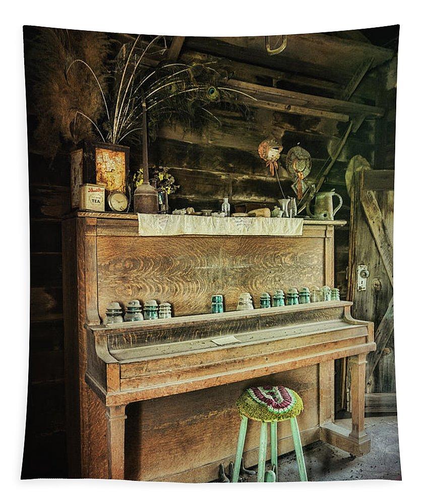 Piano Tapestry featuring the photograph Vintage Piano by Saija Lehtonen