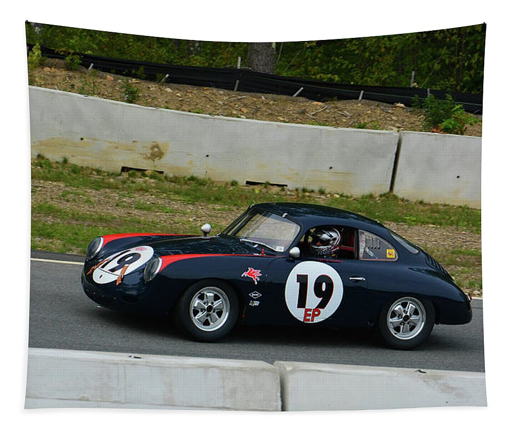 German Tapestry featuring the photograph Vintage Porsche 19 Climbing Hill by Mike Martin