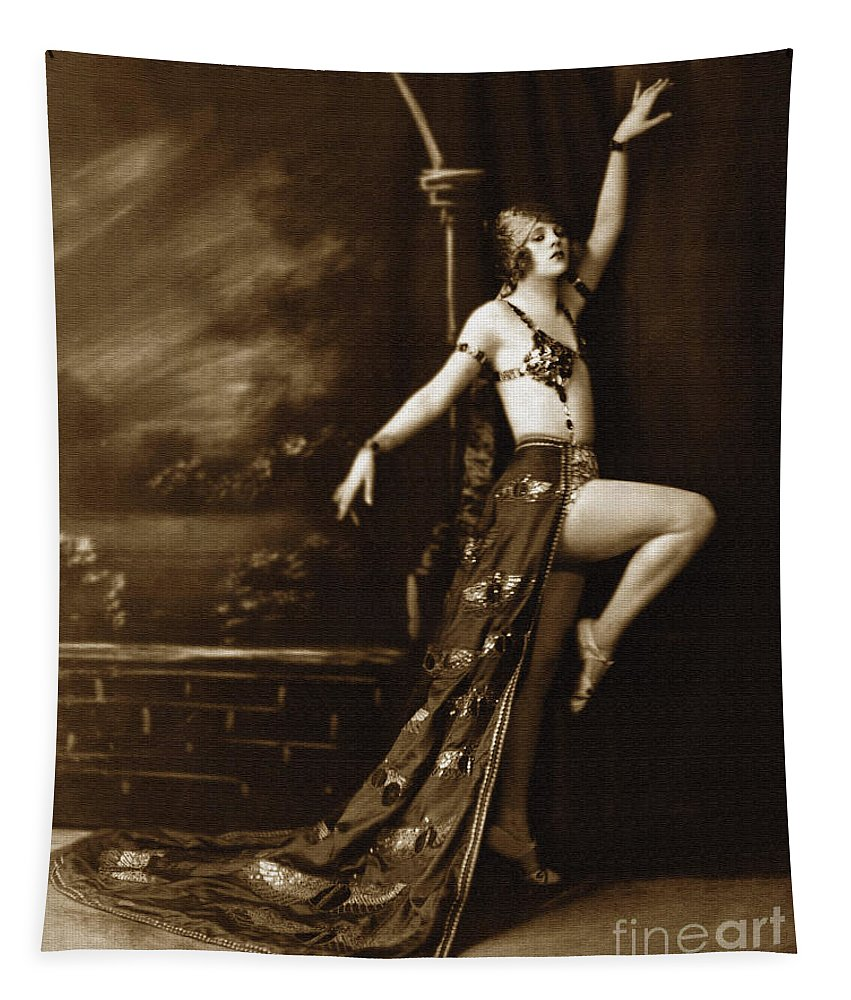 Antique Tapestry featuring the photograph Vintage Poster Posing Dancer In Costume by R Muirhead Art