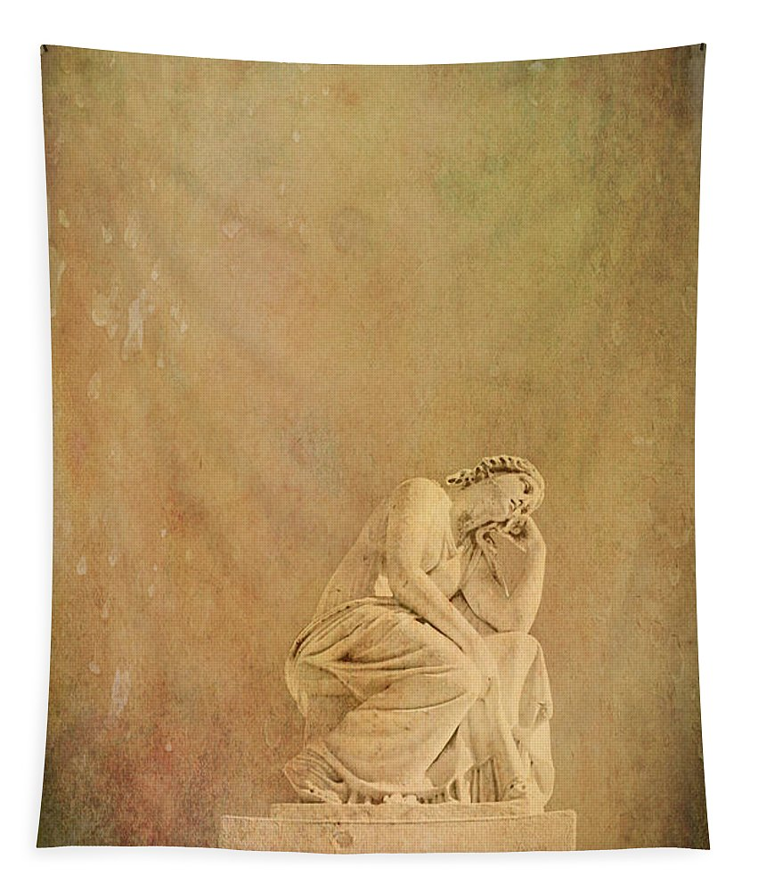 Statue Tapestry featuring the photograph Vintage Reflecting Woman 1 - Artistic by Kathleen K Parker