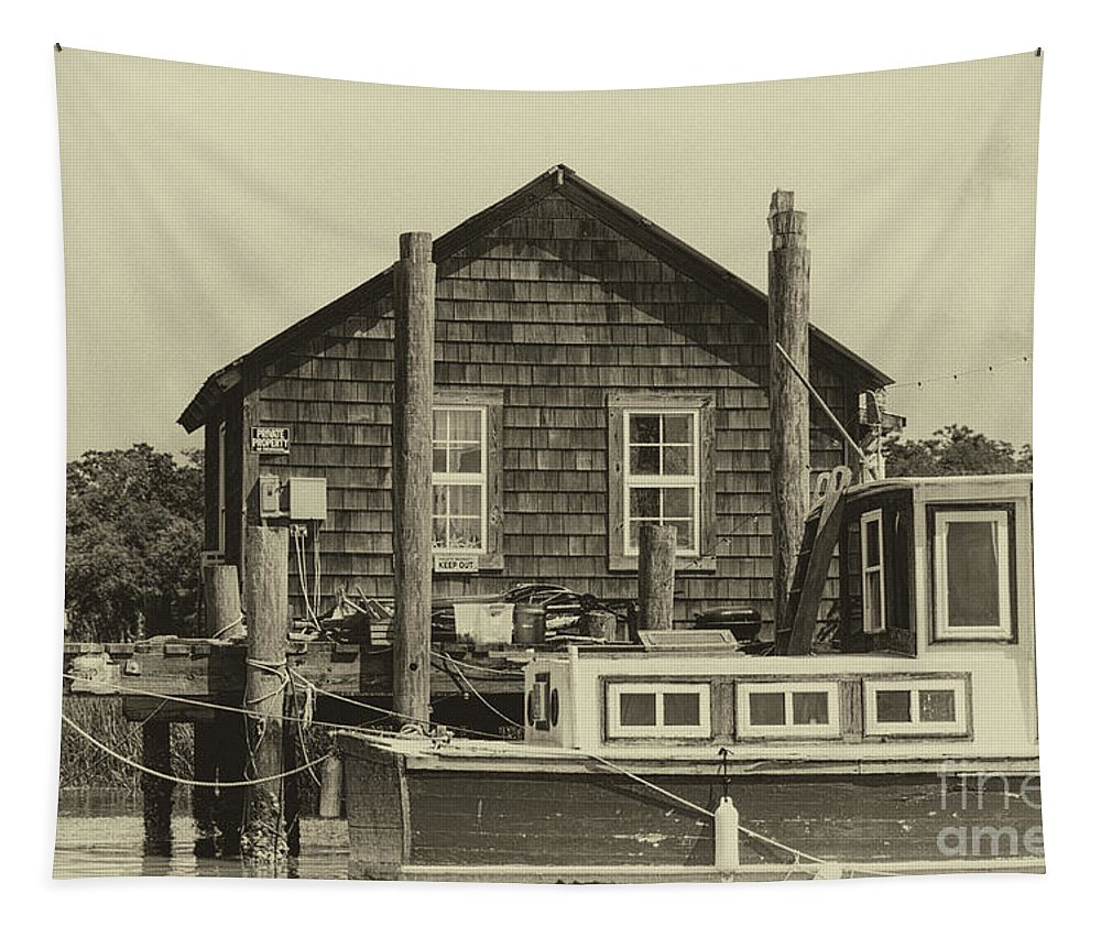 Shem Creek Tapestry featuring the photograph Vintage Shem Creek Dockside by Dale Powell