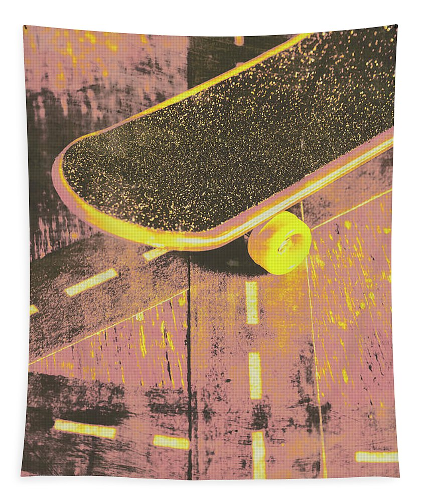 Skate Tapestry featuring the photograph Vintage Skateboard Ruling The Road by Jorgo Photography - Wall Art Gallery