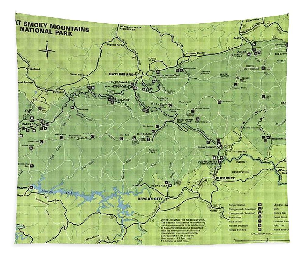 Vintage Smoky Mountains National Park Map Tapestry featuring the drawing Vintage Smoky Mountains National Park Map by Dan Sproul