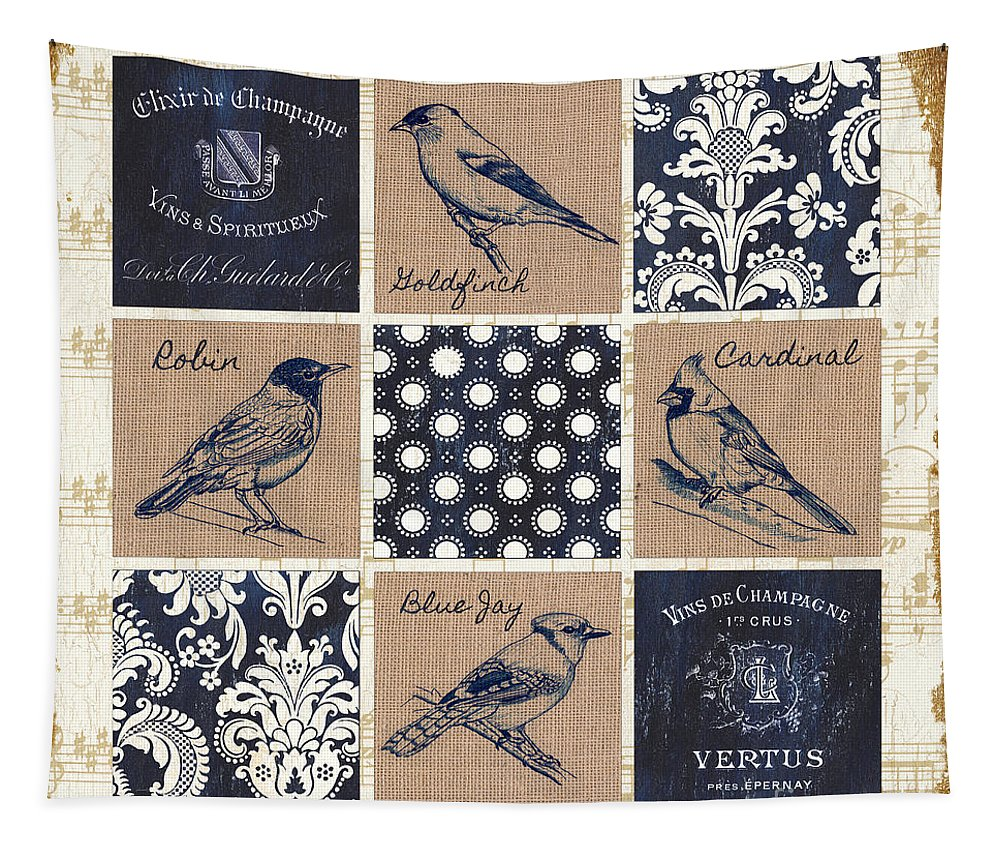 Birds Tapestry featuring the painting Vintage Songbirds Patch by Debbie DeWitt