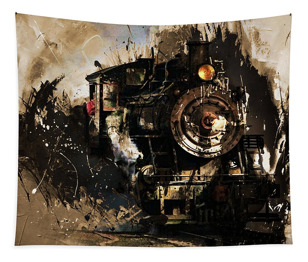 Automotive Tapestry featuring the painting Vintage Train 06 by Gull G