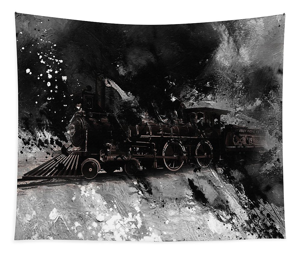 Automotive Tapestry featuring the painting Vintage Train by Gull G