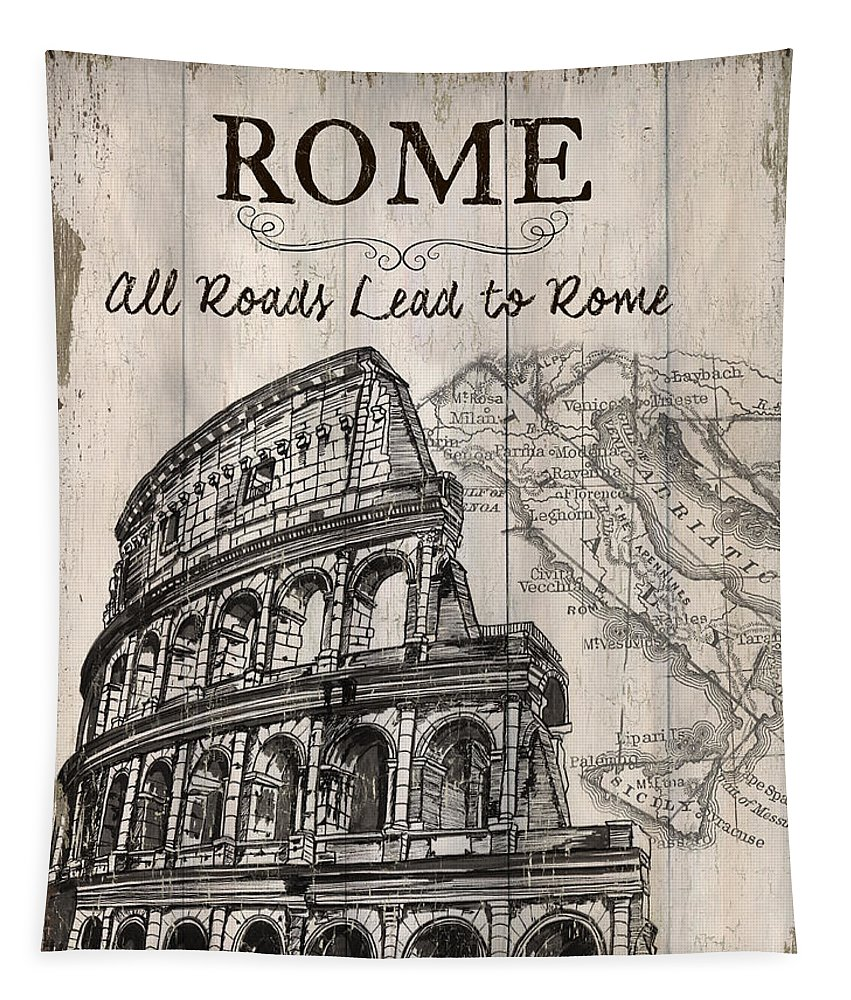 Rome Tapestry featuring the painting Vintage Travel Poster by Debbie DeWitt