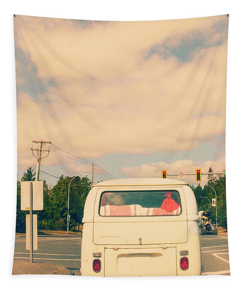 Vintage Vw Bus On The Road Tapestry