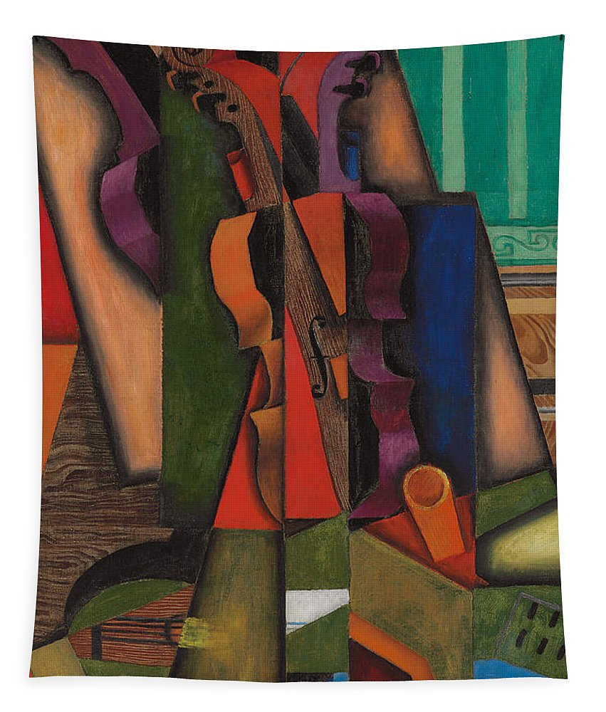 Abstract Art Tapestry featuring the painting Violin And Guitar by Juan Gris