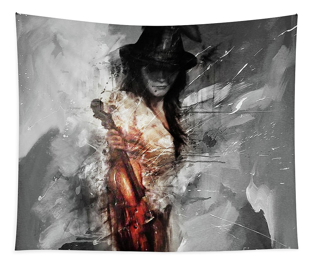Violin Tapestry featuring the painting Violin Lady 021 by Gull G