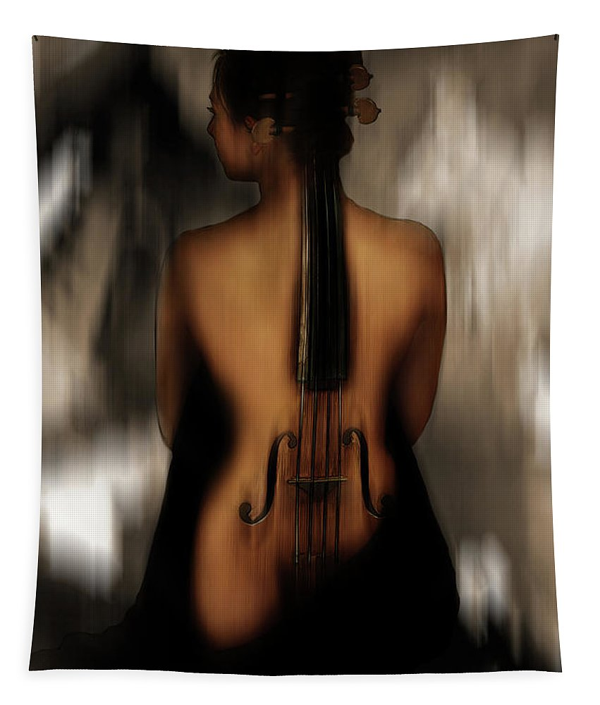 Violin Tapestry featuring the painting Violin Lady 05 by Gull G