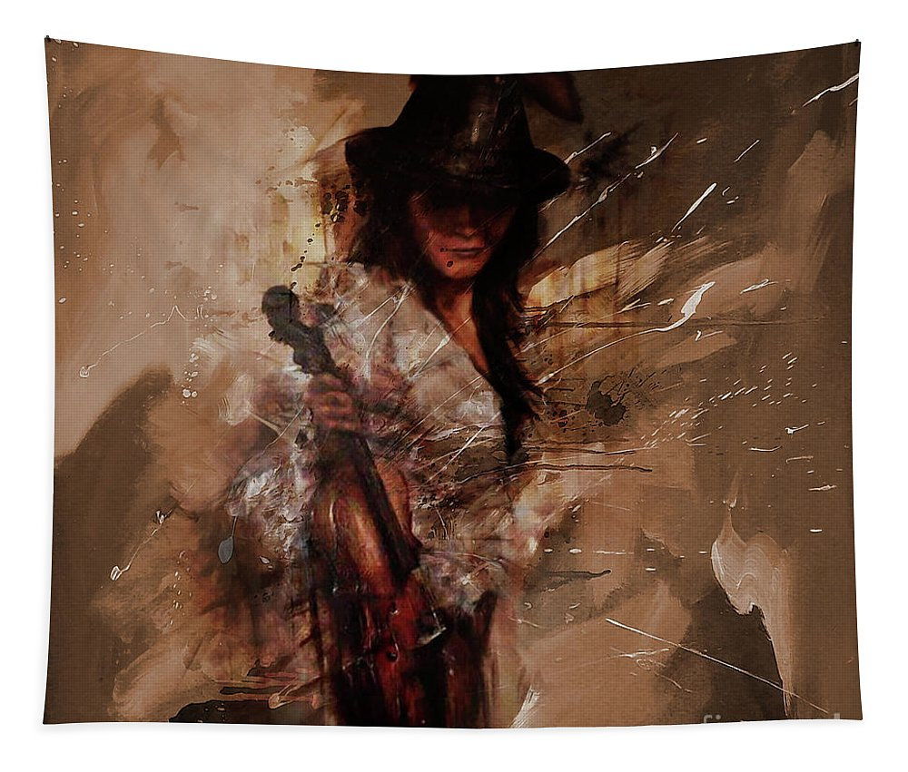 Violin Tapestry featuring the painting Violin Lady by Gull G