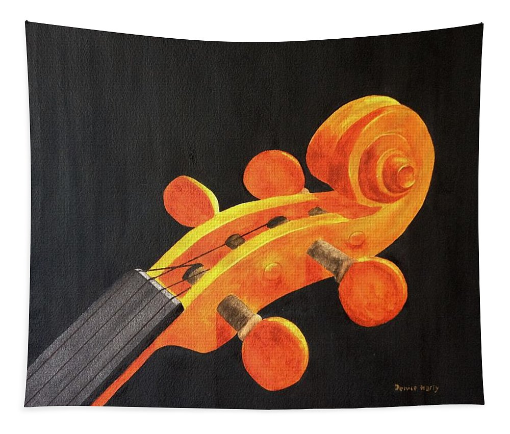 Violin Scroll Tapestry featuring the painting Violin Scroll by Denise Harty