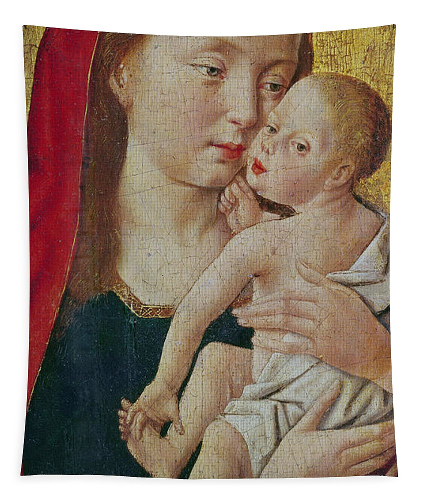 Virgin And Child Tapestry featuring the painting Virgin And Child by Master of St Giles