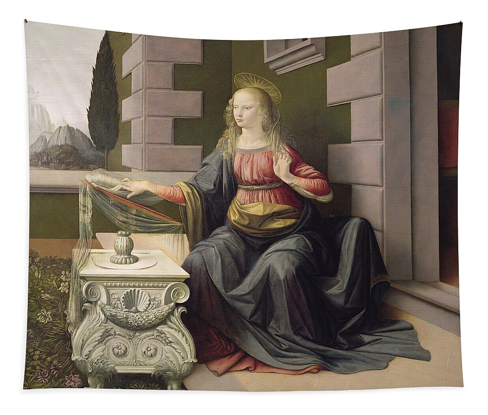The Annunciation Tapestry featuring the painting Virgin Mary, From The Annunciation by Leonardo Da Vinci