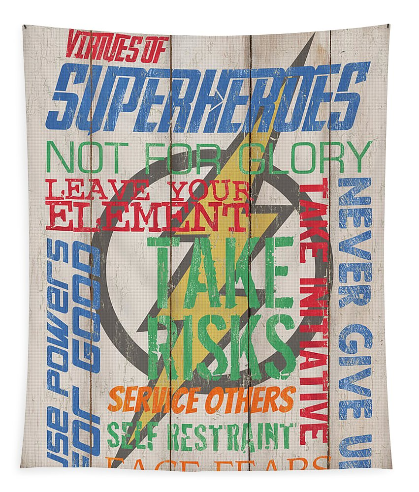 Superhero Tapestry featuring the mixed media Virtues Of A Superhero by Debbie DeWitt