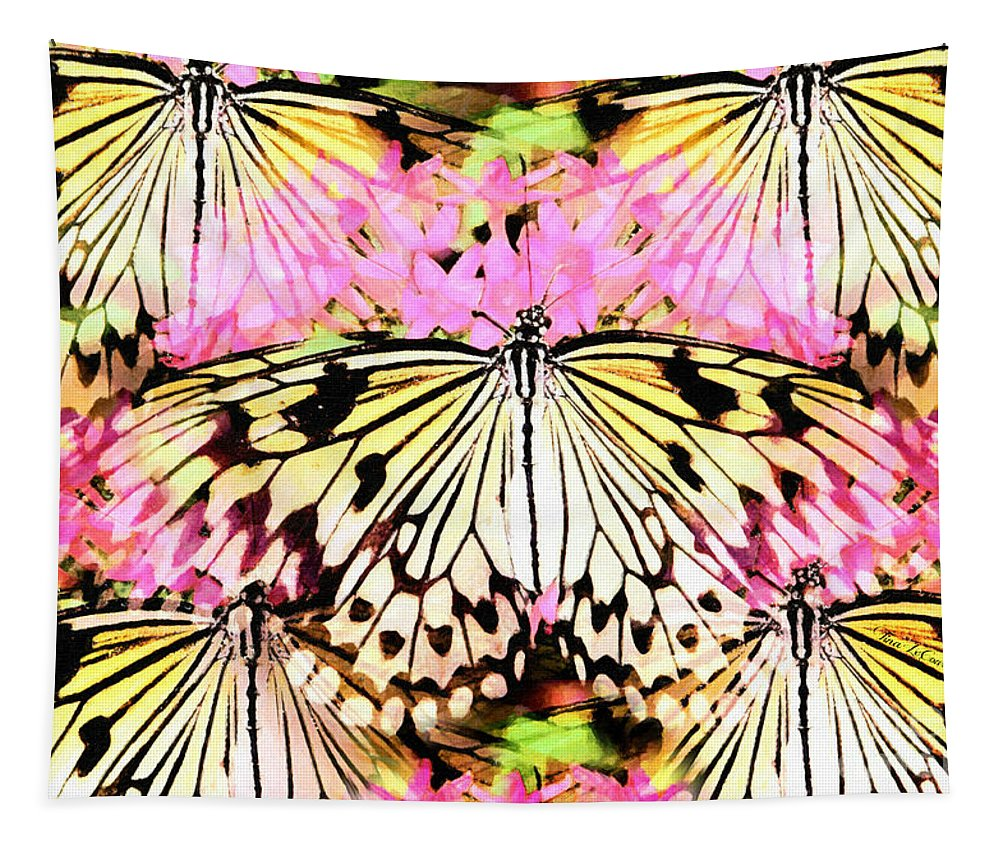 Butterfly Tapestry featuring the digital art Visions Of Spring by Tina LeCour