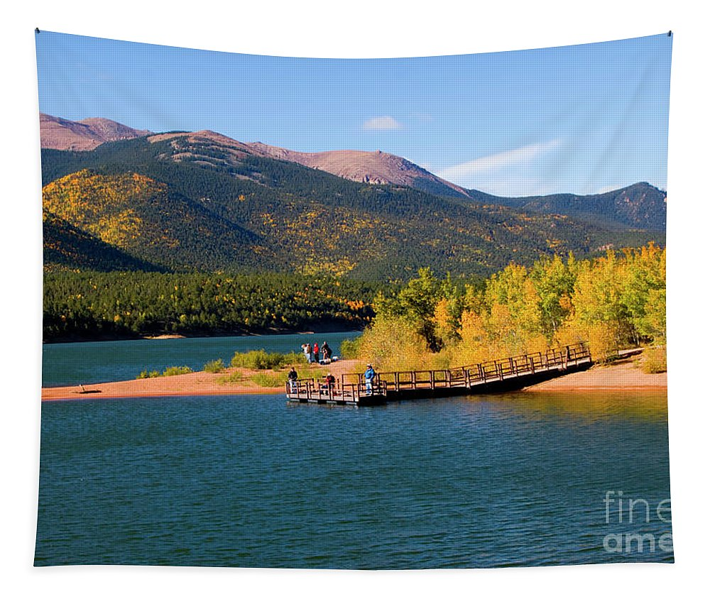 Crystal Reservoir Tapestry featuring the photograph Visitors At Pikes Peak And Crystal Reservoir by Steve Krull