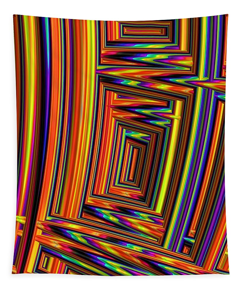 Bright Tapestry featuring the digital art Vivid Geometric Lines by Mo Barton