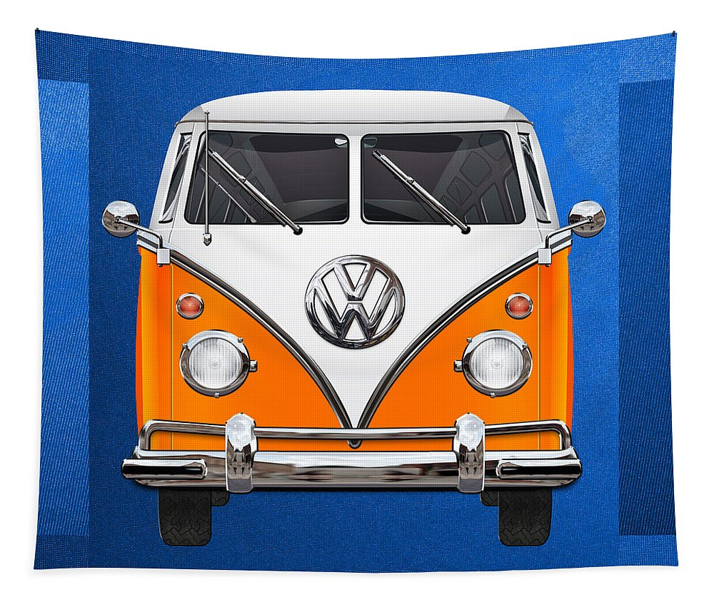 'volkswagen Type 2' Collection By Serge Averbukh Tapestry featuring the photograph Volkswagen Type - Orange and White Volkswagen T 1 Samba Bus over Blue Canvas by Serge Averbukh