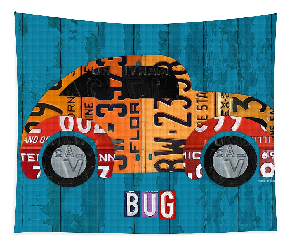 Volkswagen Tapestry featuring the mixed media Volkswagen Vw Bug Vintage Classic Retro Vehicle Recycled License Plate Art Usa by Design Turnpike