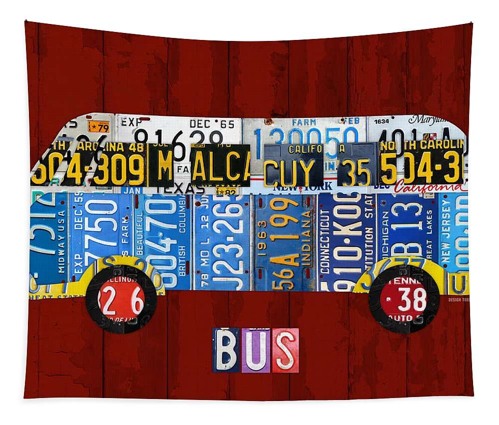 Volkswagen Tapestry featuring the mixed media Volkswagen Vw Bus Vintage Classic Retro Vehicle Recycled License Plate Art Usa by Design Turnpike