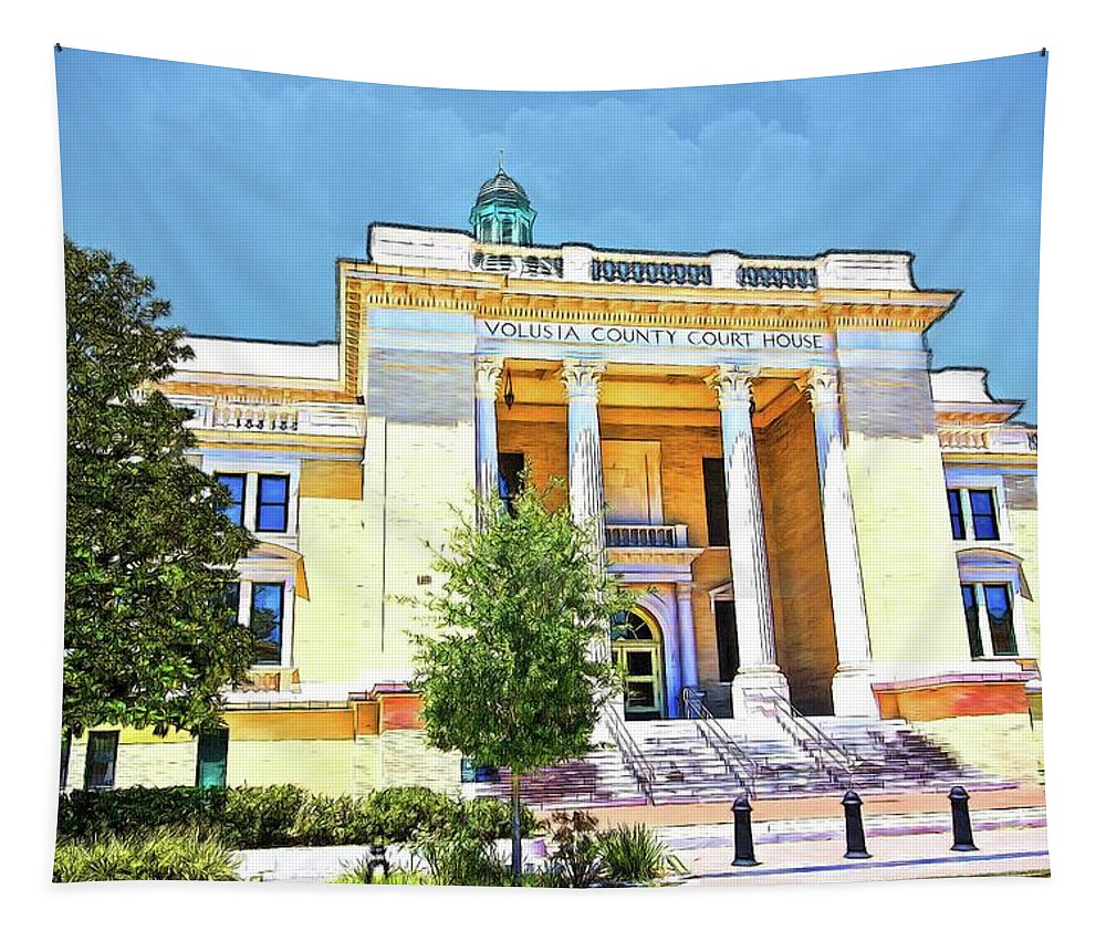 Alicegipsonphotographs Tapestry featuring the photograph Volusia County Court House Yellow by Alice Gipson