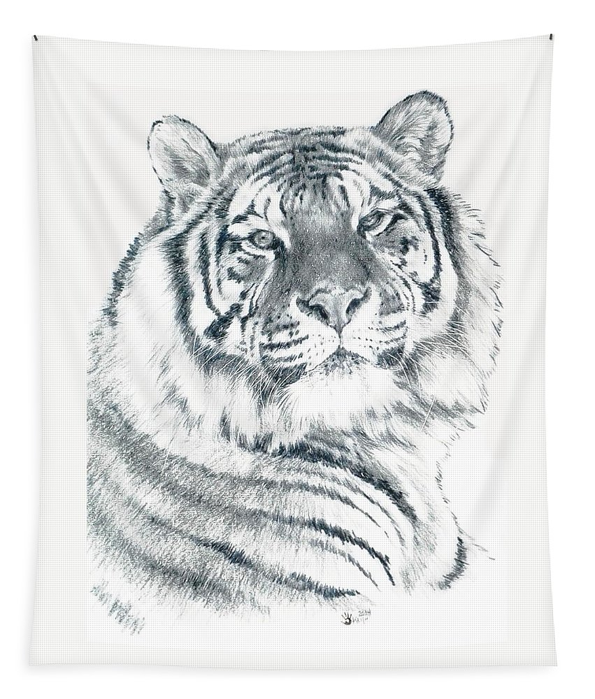Tiger Tapestry featuring the drawing Voyager by Barbara Keith