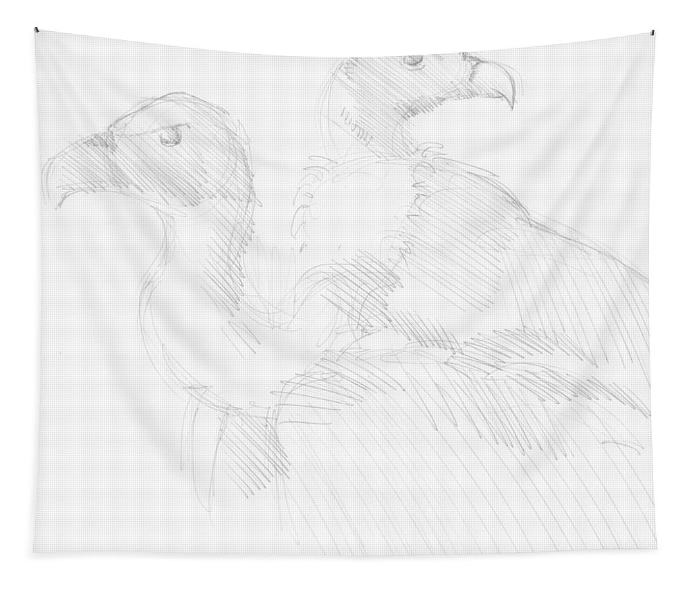 Vulture Tapestry featuring the drawing Vultures Drawing by Mike Jory