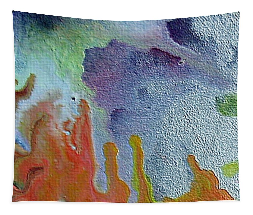 Abstract Encaustic Painting Tapestry featuring the painting W 049 by Dragica Micki Fortuna