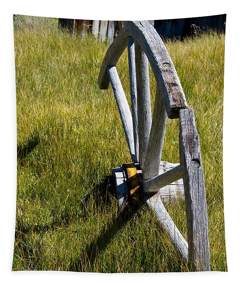 Wagon Wheel In Grass Tapestry featuring the photograph Wagon Wheel In Grass by Chris Brannen