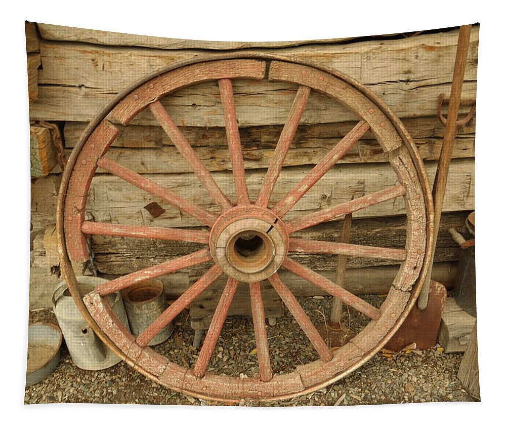 Old Tapestry featuring the photograph Wagon Wheel by Jeff Swan