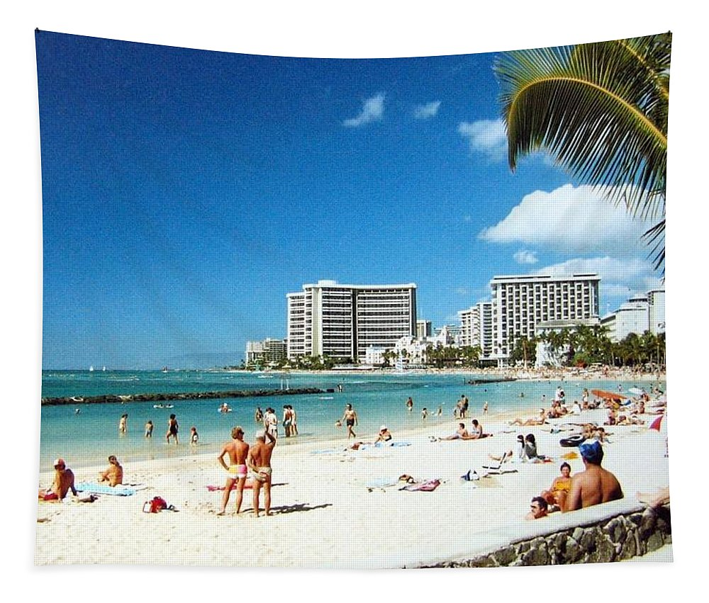 1986 Tapestry featuring the photograph Waikiki Beach by Will Borden