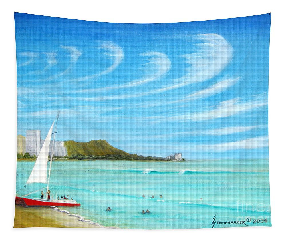 Waikiki Tapestry featuring the painting Waikiki by Jerome Stumphauzer