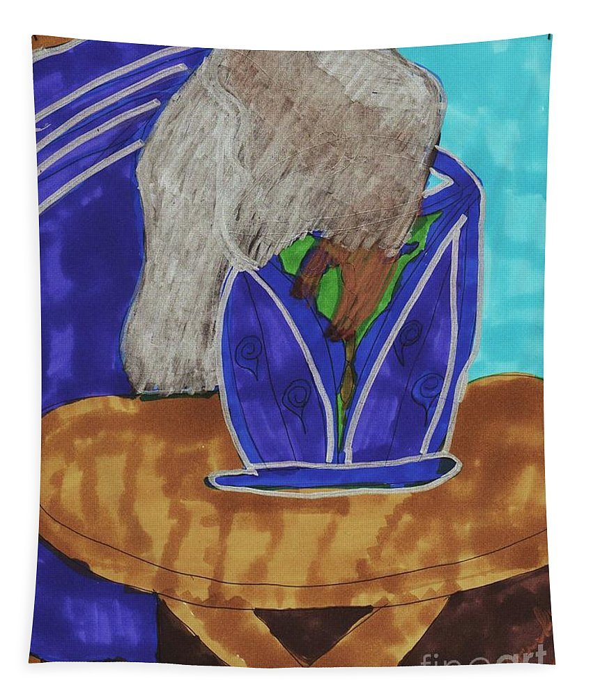 Lady With Her Hand Slouched Over Her Purse In A Blue Dress And Silver Translucent Tapestry featuring the mixed media Waiting To Go Out by Elinor Helen Rakowski