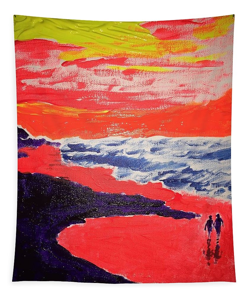 Walk Tapestry featuring the painting Walk On The Beach by Jack Bunds
