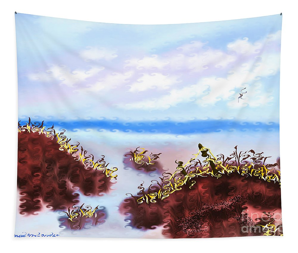 Beach Tapestry featuring the digital art Walking On The Beach On A Rainy Day by Debra Lynch