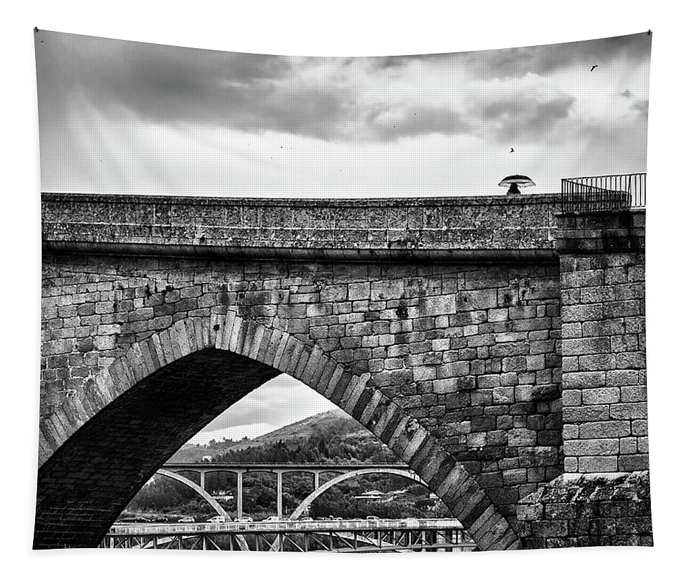 Black and white landscape of Argentina on wall tapestry